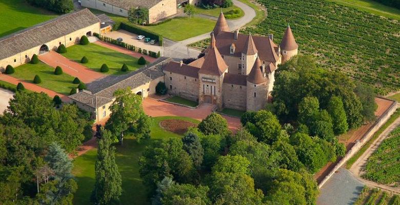 vue en montgolfière au-dessus du château